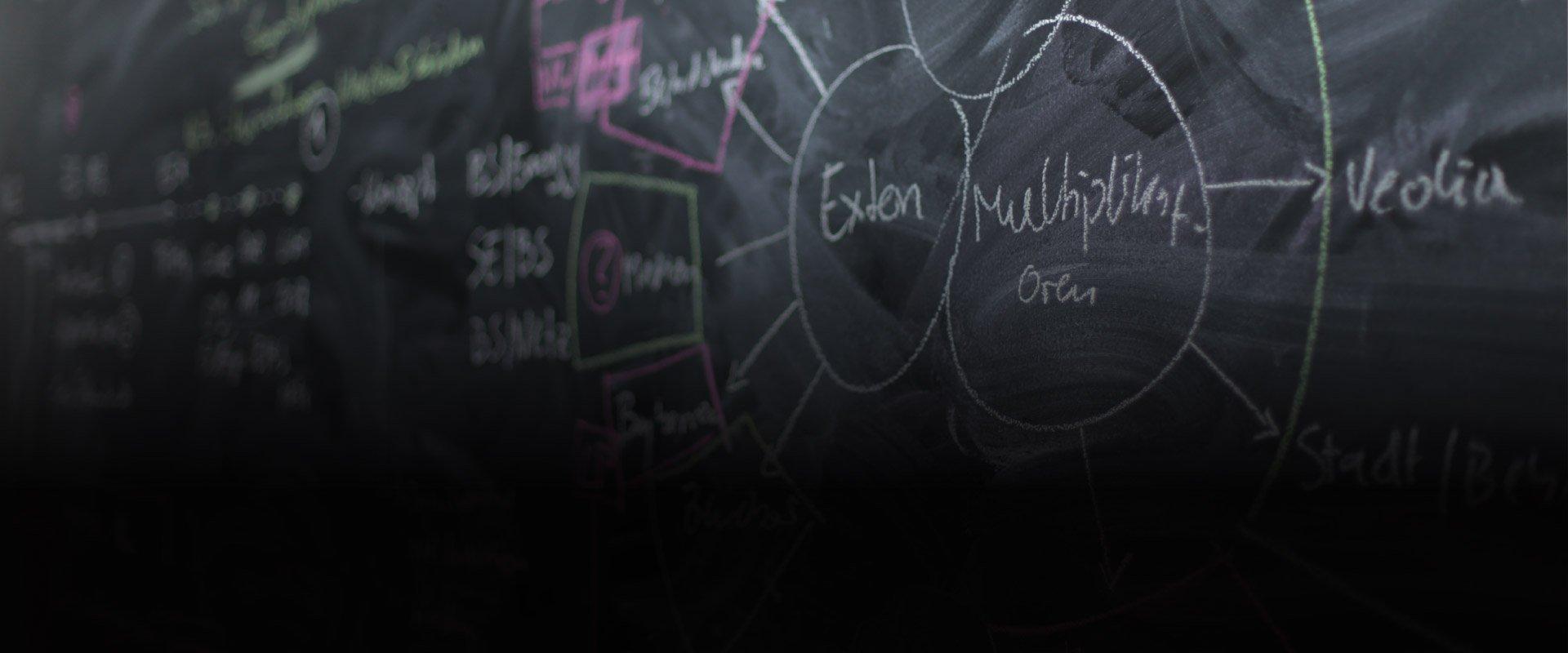 Tafel mit bunter Ideensammlung