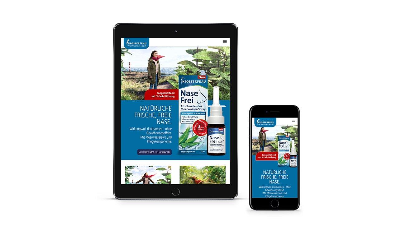 Klosterfrau Webseite im Tablet und Smartphone angezeigt