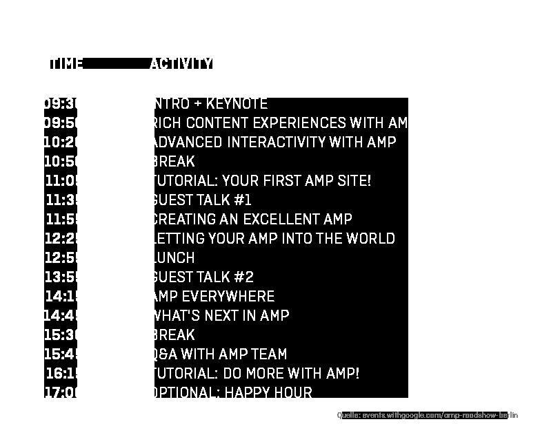 Agenda AMP Roadshow Berlin 2019